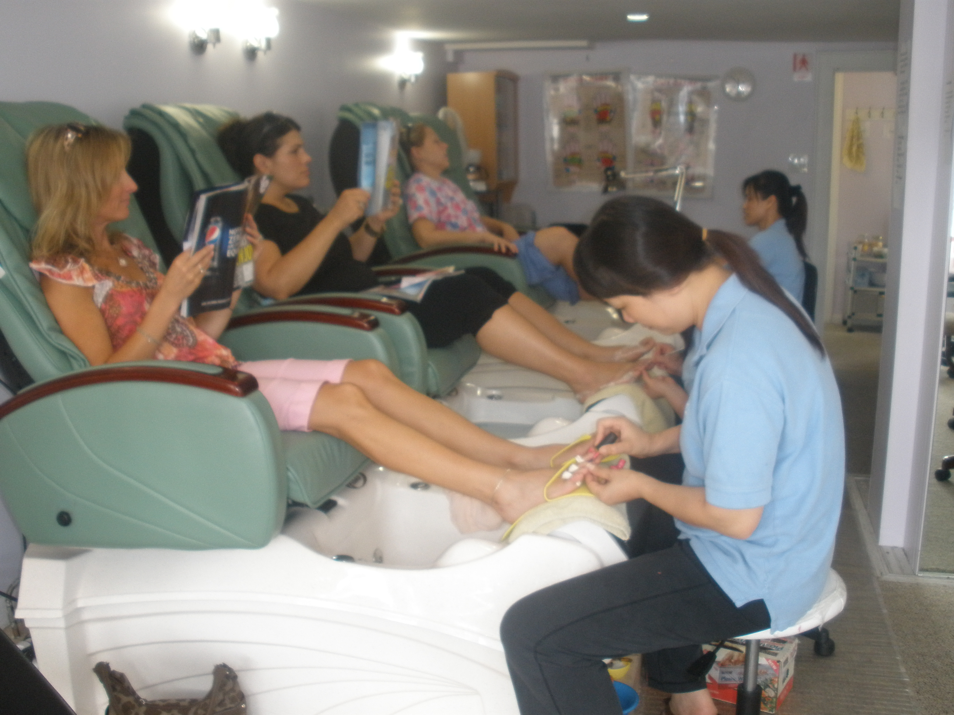 Indoor photo pedicure for Nail salon hours